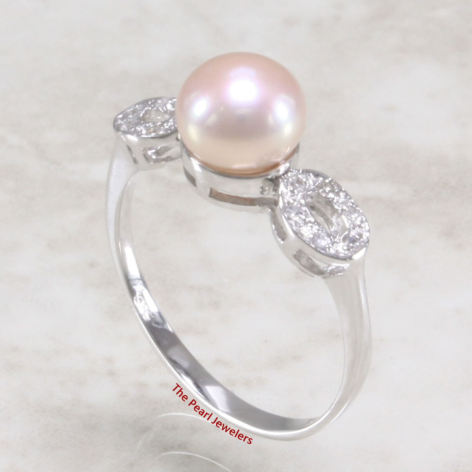 14k Solid White gold AAA Romantic Pink F W Cultured Pearl & Diamond Ring TPJ