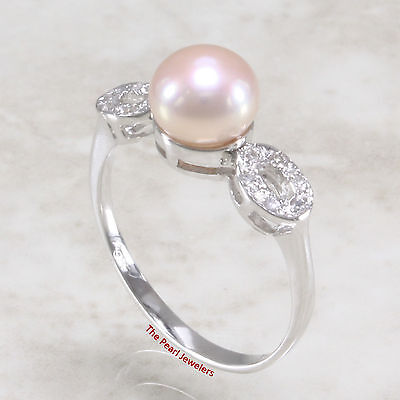 14k Solid Yellow Gold Genuine AAA White Cultured Pearl Diamond Cocktail Ring TPJ