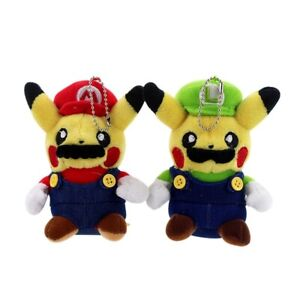 2PCS Pokemon Pikachu Squirtle Plush Stuffed Doll Super Mario Luigi Toys Gift