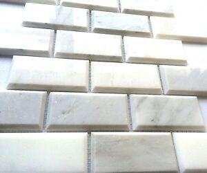 Carrara White 2x4 Polished Beveled Mosaic Tile Wall