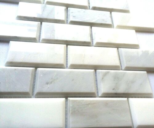 Carrara White 2x4 Polished Beveled Mosaic Tile Wall Backsplash Kitchen Bath