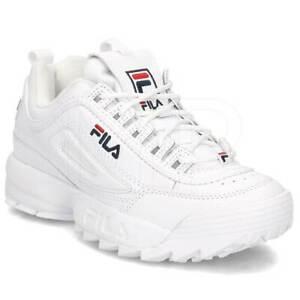Dettagli su Scarpe sportive donna FILA Disruptor Low pelle opaca bianco 1010302-1FG