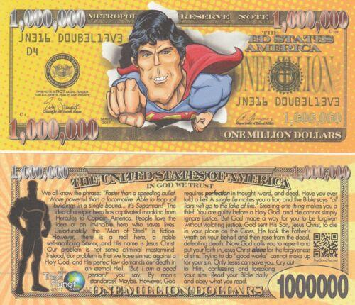 FREE SLEEVE Superman Million Dollar Funny Money Gospel Tract Novelty Note # 3