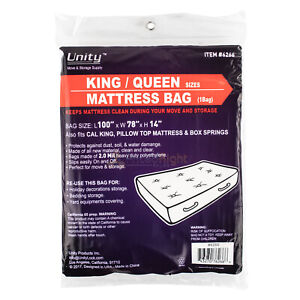 Durable Plastic King Queen Size Mattress Bag Dust Water 2 Mil Heavy Duty Storage