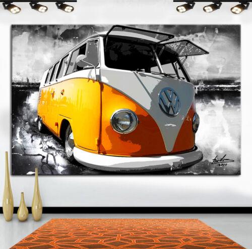 VW Bulli Bus Auto Oldtimer Abstrakt Deko Bilder auf Leinwand Wandbild XXL 2388A