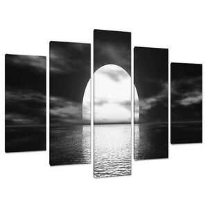 Set Of 5 Panel Black White Canvas Wall Art Pictures Large Prints