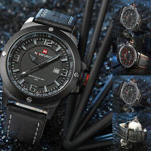 NAVIFORCE-Fashion-Sports-Men-039-s-Waterproof-Quartz-Leather-Casual-Calendar-Watches