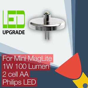 Mini-MagLite-LED-Conversion-upgrade-bulb-Torch-flashlight-2AA-Cell-Philips-LED