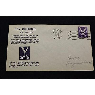 NAVAL COVER 1944 MACHINE CANCEL WW 2 LAUNCHING USS MILLEDGEVILLE (PF-94) (2451)