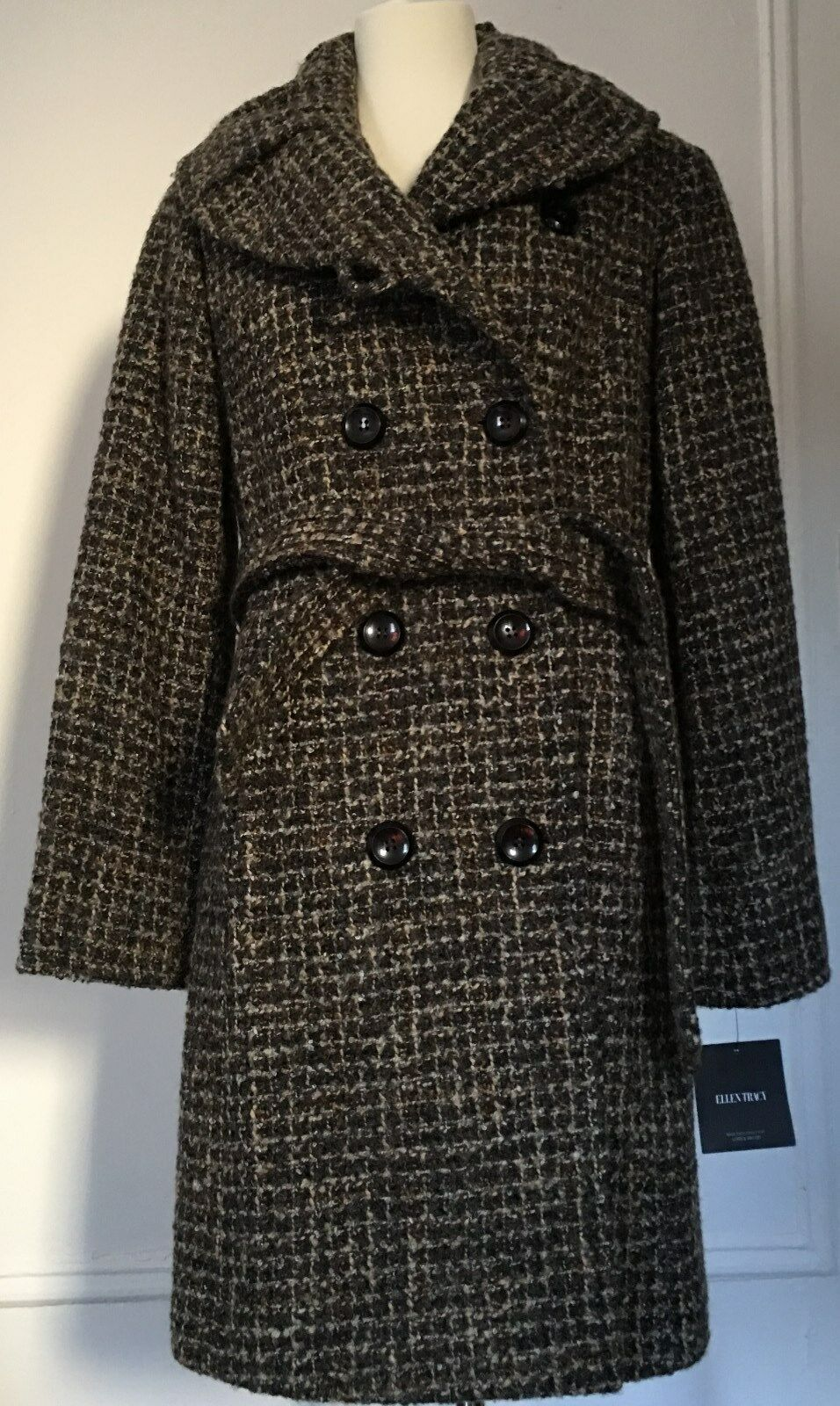 New Ellen Tracy Doble Breasted Wool Blended Coat Sz 10