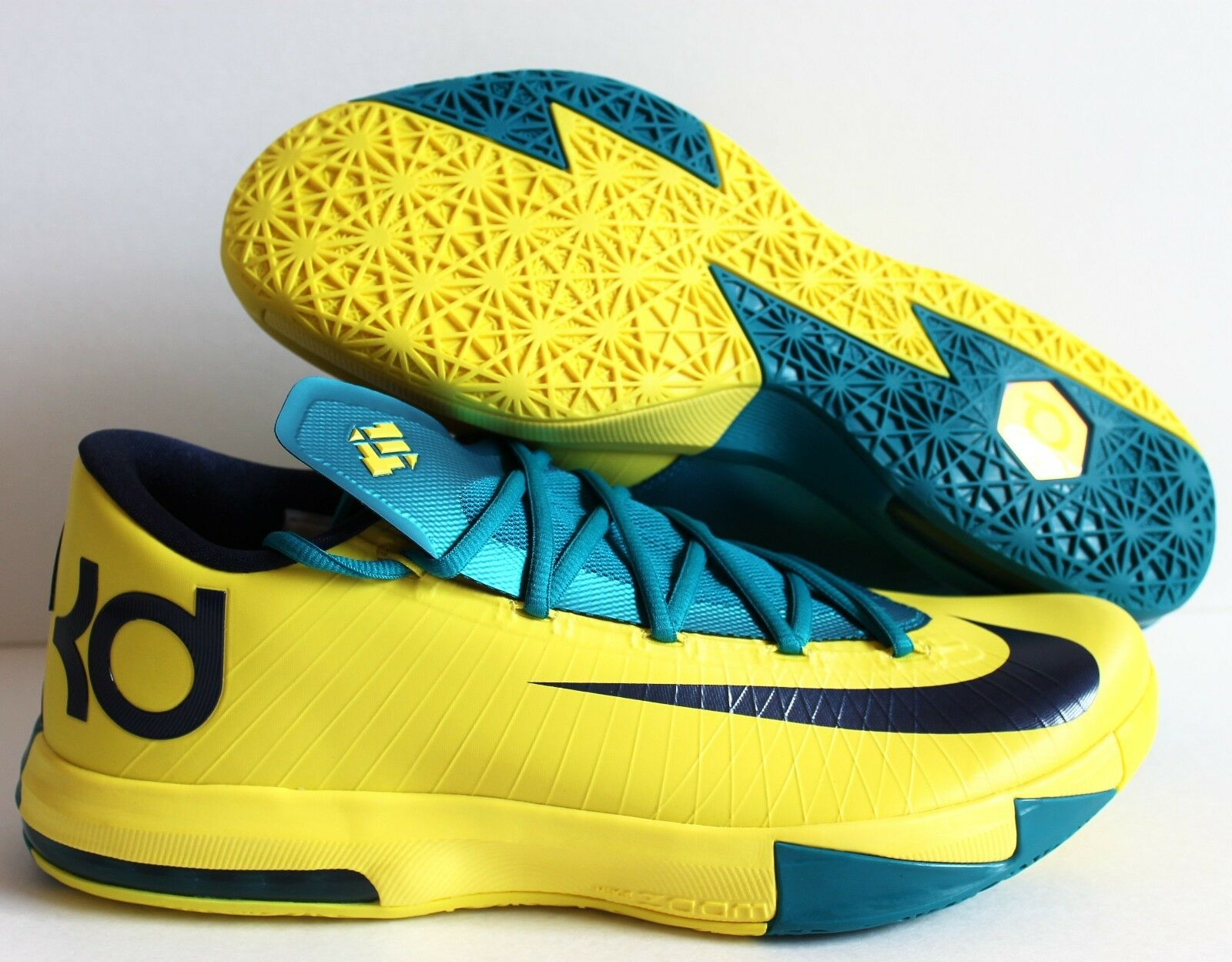 NIKE KD VI 6 SONIC YELLOW-MIDNIGHT NAVY BLUE-TROPICAL TEAL Price reduction The latest discount shoes for men and women