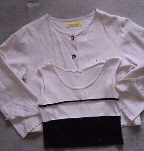 Kurzblazer-Top-Shirt-bauchfrei-beige-schwarz-Set-36-38-Leinen-Baumwolle