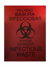 Rollpak Biohazard Waste Disposable Bag Qty 100 7-10 gallon Capa... Free Shipping
