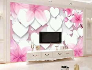 3D Heart Shape Pink 74 Wall Paper Murals Wall Print Wall Wallpaper Mural AU Kyra