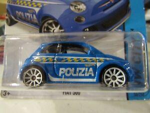 Details About Hot Wheels Fiat 500 Hw City Blue Polizia