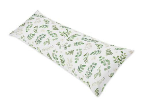 Botanical Floral Leaf Green White Boho Girl Body Pillow Case Cover by Sweet Jojo