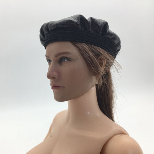 1//6 Scale PU Leather Female Beret Womans Hat for 12 inch Action Figures