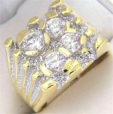 14K GOLD EP DIAMOND SIMULATED MENS NUGGET RING SIZE 8 - 11 you choose
