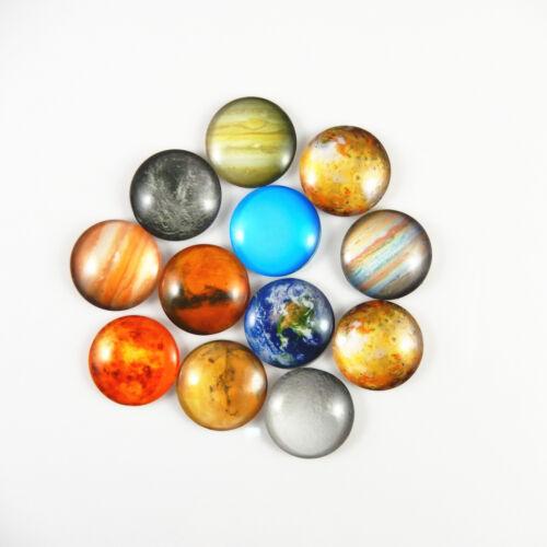 Mezcla de Cristal Redondo Patrón Planeta cósmico Cameo Cabuchones Fabricación de Joyería 8-30mm