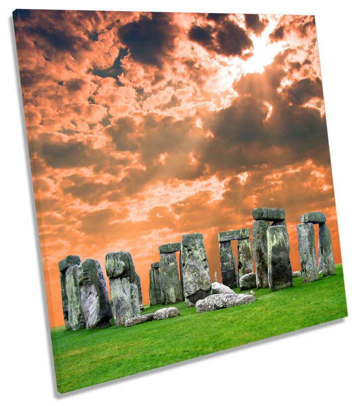Stonehenge Sunset SQUARE CANVAS WALL ART Boxed Framed