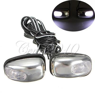 2x Chrome White LED Light Lamp Windshield Jet Spray Nozzle Wiper Washer Eyes