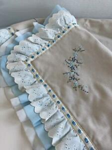 Vintage-Baby-Crib-Comforter-Quilt-Coverlet-Gray-Blue-Embroidered-Eyelet-Ruffles