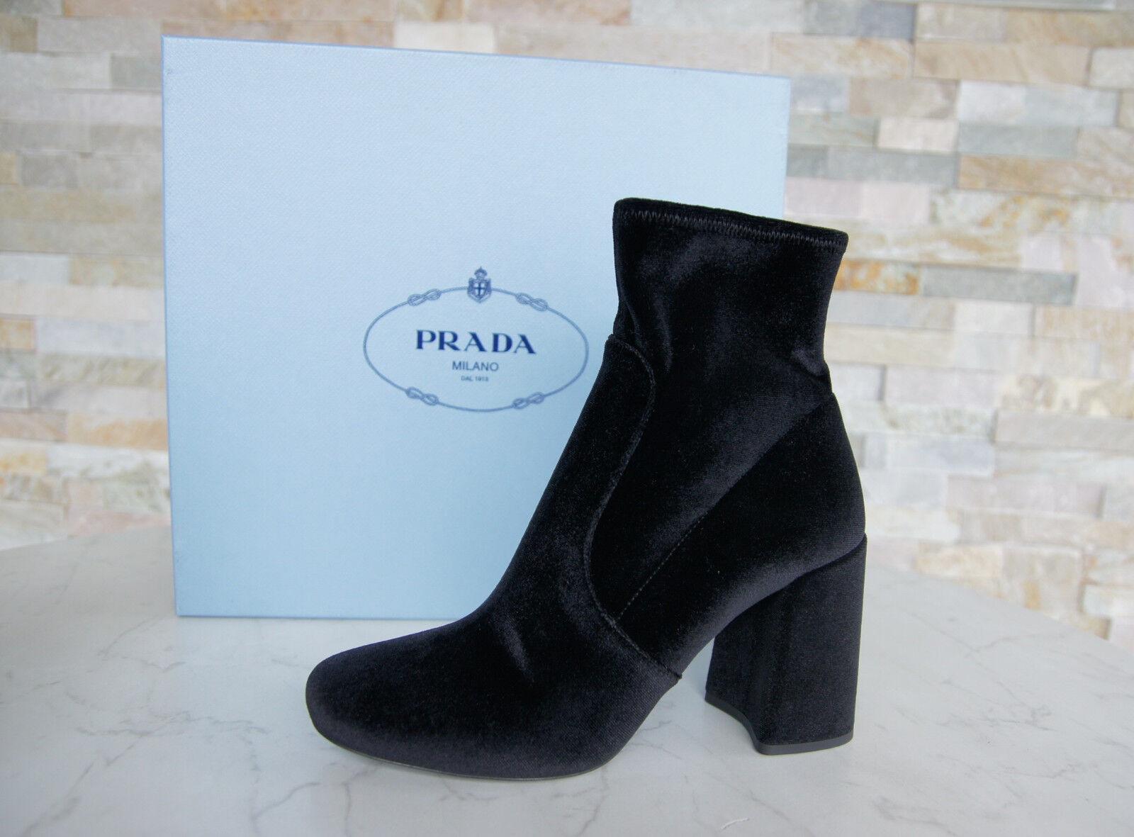 Prada Prada Prada talla 38 botines 1t708h zapatos de terciopelo negro Stretch nuevo ex. PVP  marcas de diseñadores baratos