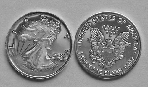 1 GRAM .999 PURE SOLID SILVER ROUND WALKING LIBERTY DESIGN