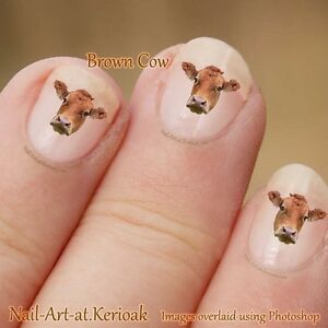 Cow Nail Art Stickers Decals Farm Animal Nailart Brown Cow Ebay