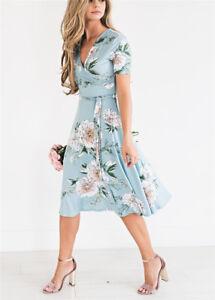 AU-Women-039-s-Chiffon-Long-Maxi-Dresses-Evening-Party-Beach-Dress-Floral-Sundress