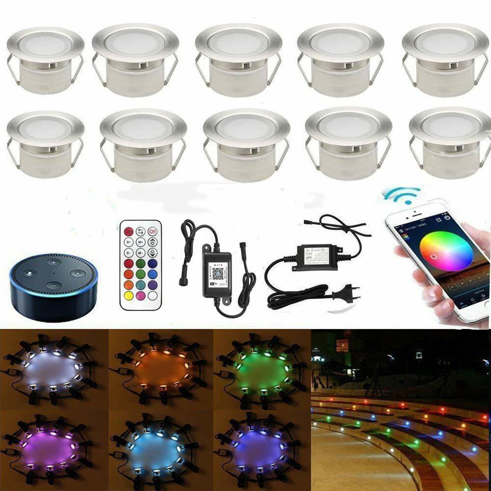 10 x WiFi Controller 45mm RGB LED Bodeneinbauleuchte Einbaustrahler Außen Spots