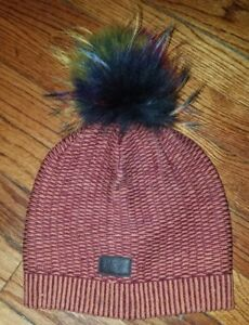 penguin rust maroon beanie hat big real fur pom pom men women unisex ... 1ae09e86cdb