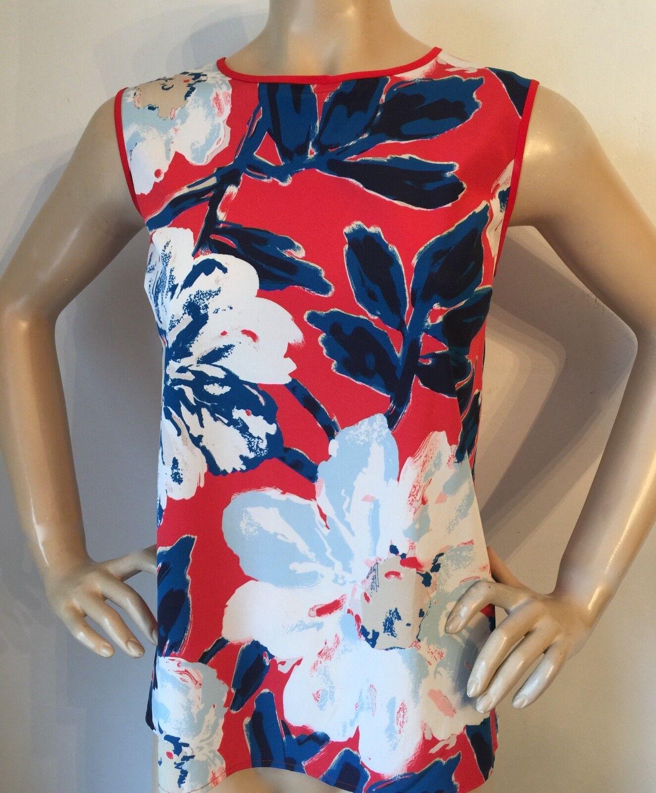 NWT St John knit top size L sea Coral & bluee floral silk