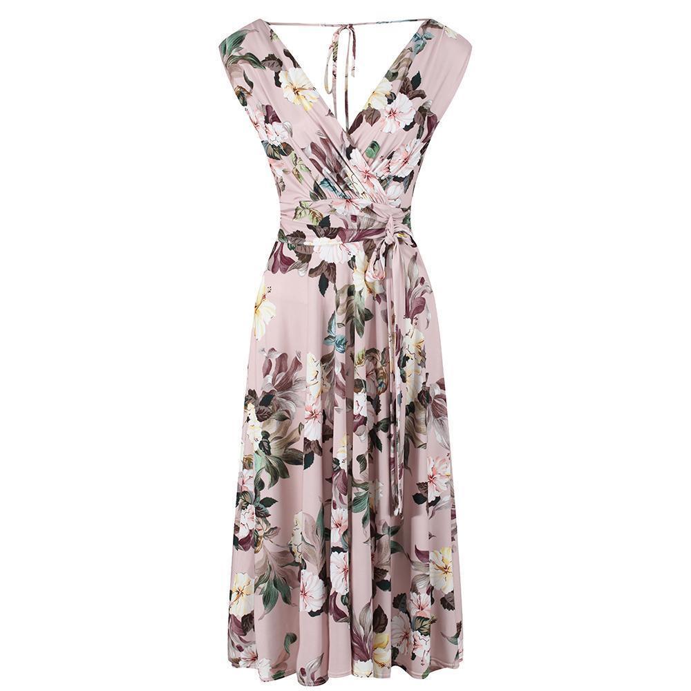 Vintage Dusky Pink Floral Slinky Wrap Swing Dress
