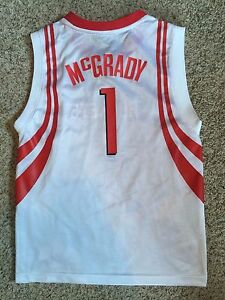 Houston Rockets NBA  1 Tracy McGrady Reebok Jersey White Youth M Sz ... 96bb6a4342e3