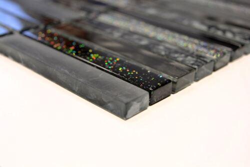 Mosaik Fliese Transluzent Stäbchen Glasmosaik Crystalschwarz 87-STNB/_f|10Matten