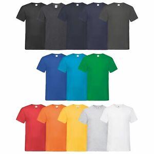 10er-Pack-Fruit-of-the-Loom-Valueweight-V-Neck-T-Herren-T-Shirt-V-Ausschnitt-NEU