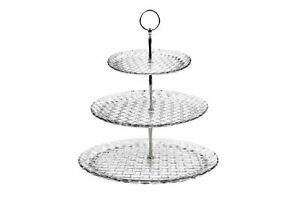 Glass-Cake-Stand-3-Tier-Afternoon-Tea-Wedding-Plates-Party-Tableware-Embossed