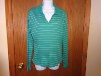 Women's Chadwick's Green /golden Striped Shirt Size Xl