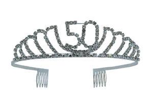 1d3bbd3889 Details about 50th Birthday Rhinestone Tiara - Premium Quality Metal  Birthday Crown Accessory