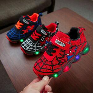 Kids Boys Girls Spiderman LED Trainers