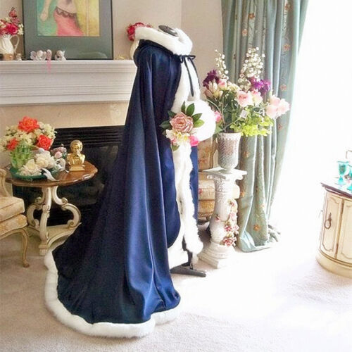 Long Bridal Winter Wedding Dress Hooded Cloak Cape Faux Fur Bridal Mantles Wraps