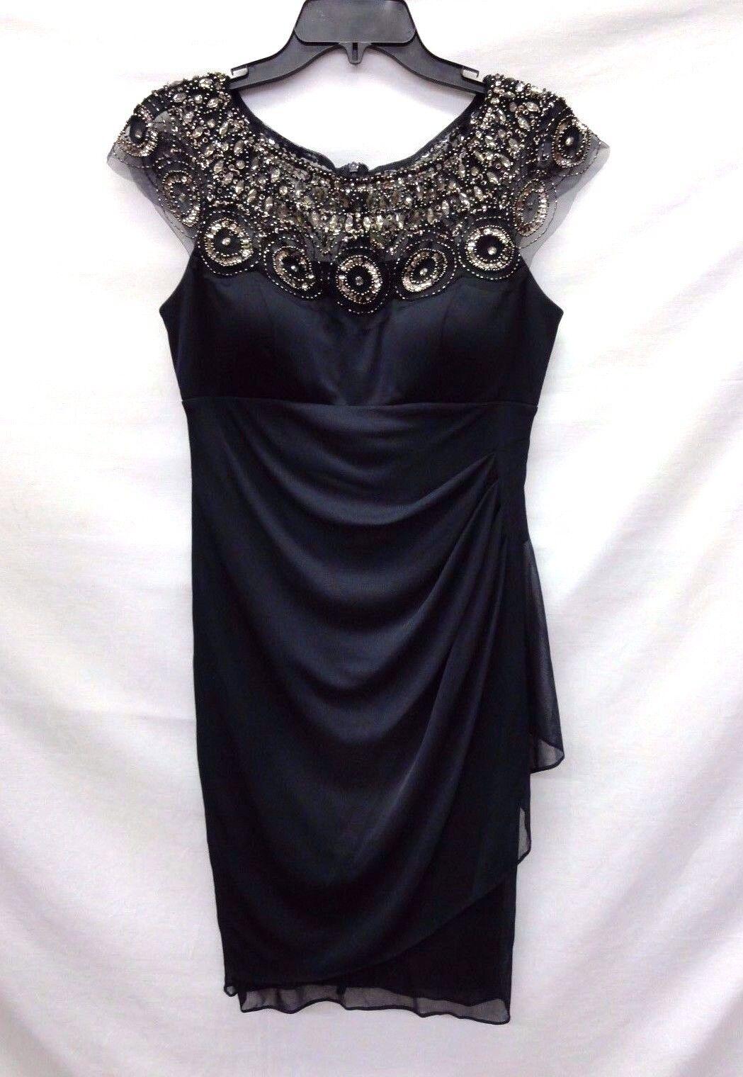 Xscape Women's Embellished Yoke Ruched Mesh Sheath  Dress, Navy, 8