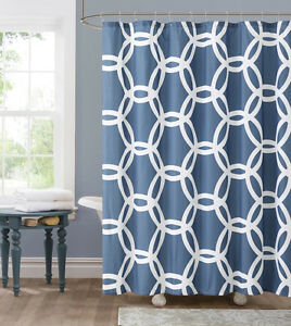 honey circle navy blue teal white fabric shower curtain