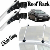 A Pair 48 Universal Auto Top Luggage Cross Bar Roof Rack Carrier +3 Kinds Clamp