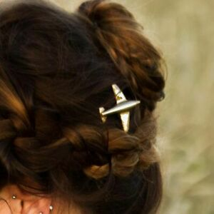Details about Fashion Women Metal Airplane Hair Clip Gold Silver Girls  Simple Aircraft Hairpin