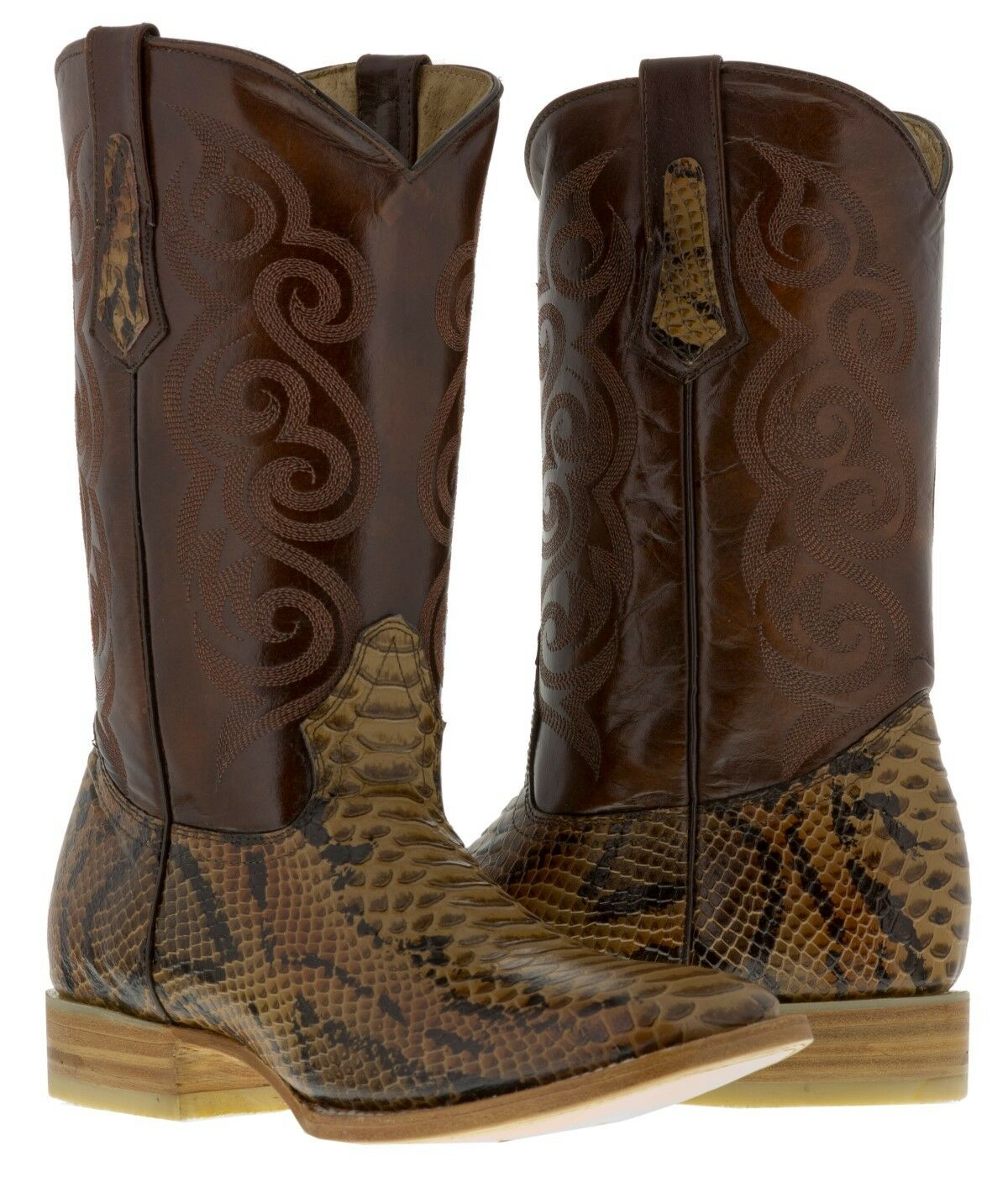 Mens handmade cognac brown python snake leather cowboy boots square toe