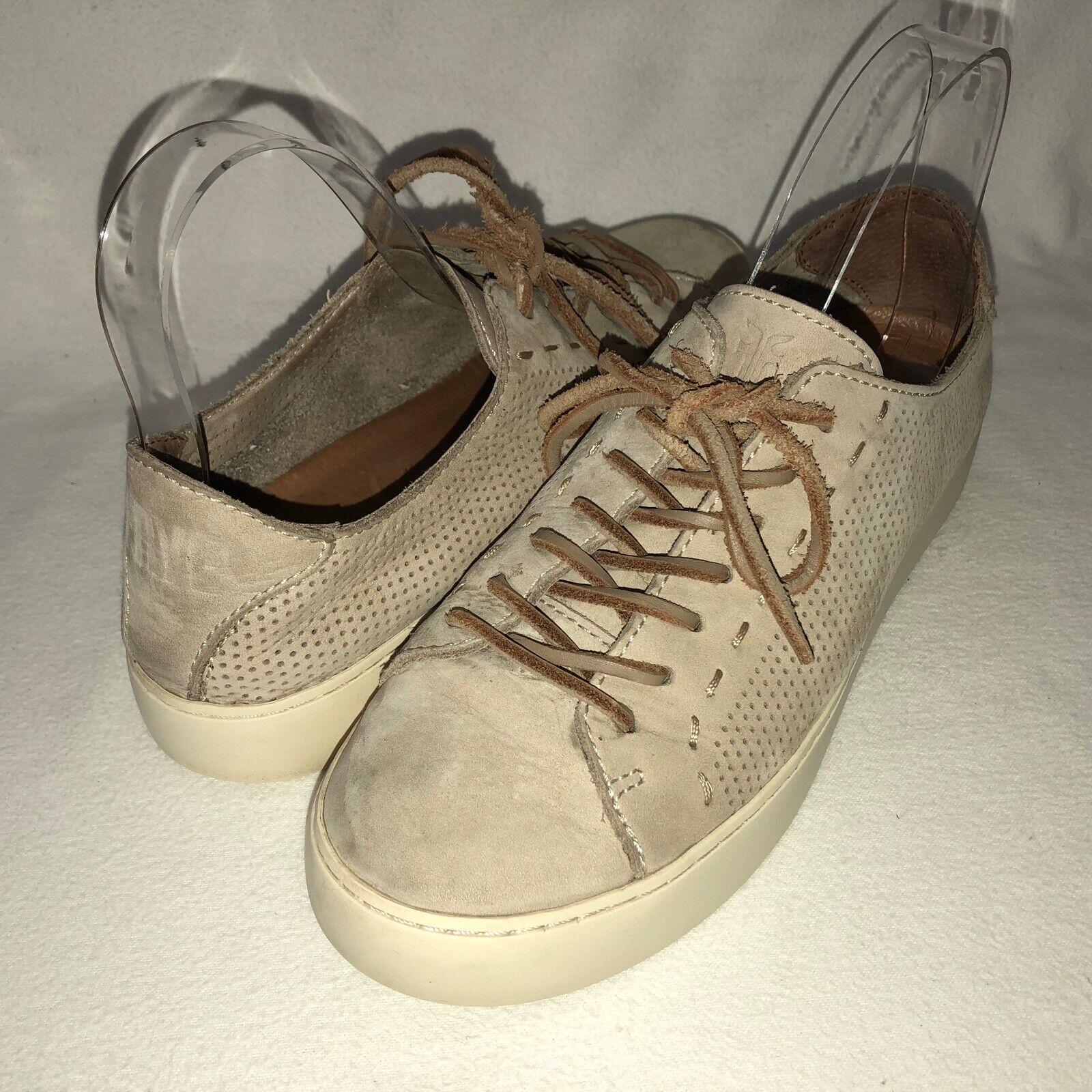 Frye Lena Femme 7.5 m Taupe Perforé Nubuck Cuir Lacets Baskets chaussures
