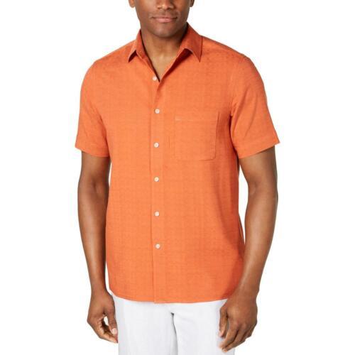 Tasso Elba Mens Orange Silk Casual Short Sleeve Button-Down Shirt XXL BHFO 1075