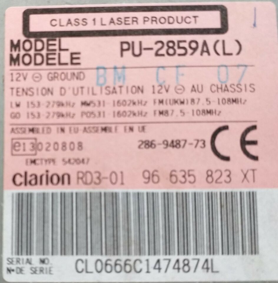 Clarion PU-2859A(L), CD/Radio